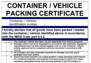 Certificado de carregamento do contentor ou do veículo